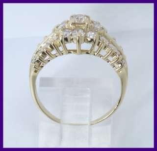 14k Round Diamond Cluster Cocktail Fashion Ring 1.45ct