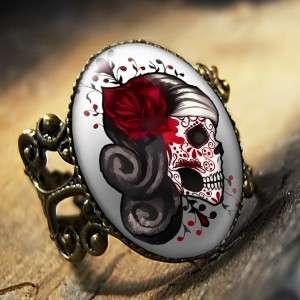 Muertos Tattoo Skull Punk Adjustable Antique Bronze Ring 438 AR