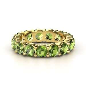 Band of Brilliance, 14K Yellow Gold Ring with Green
