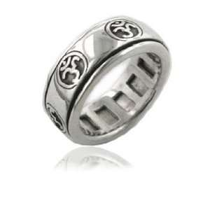Sterling Silver OM or Aum Hindu Yoga Symbol Spinning Motion Ring Size