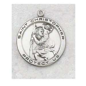 Sterling Silver Catholic Saint Christopher Patron Saint Medal Necklace