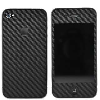 Black Full Body Carbon Fiber Skin Sticker For iPhone 4