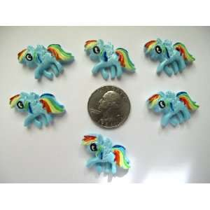 6 Resin Cabochon Flat Back Blue Pony for Cellphones