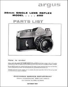 Argus SLR, Mamiya, Tower Camera Parts Manual: 1964