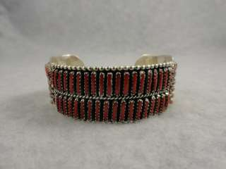 Handmade Zuni bracelet needle point coral row Native American jewelry
