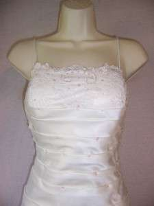 IGNITE EVENINGS Ivory Mermaid Satin Ruched Beaded Lace Wedding Formal
