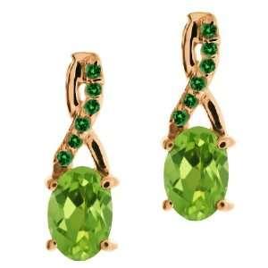 1.07 Ct Oval Green Peridot and Green Diamond 14k Rose Gold