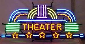 Neon sign Theater Home theatre Art Deco on metal grid