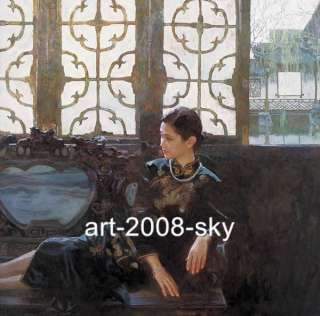 Original Chinese Oil painting Art Portrait Girl Lady
