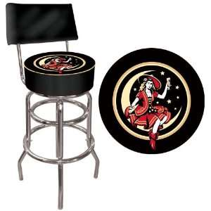 Padded Bar Stool with Back   Game Room Products Pub Stool Beer Logos