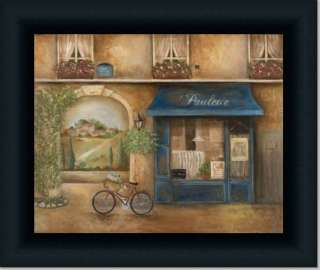 Paulette Cafe French Street Scene Decor Print Framed