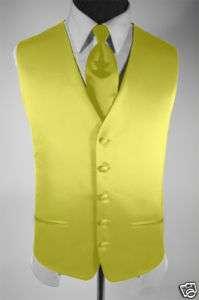 Mens Suit Tuxedo Dress Vest and Necktie Yellow Medium