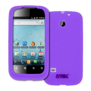 for Huawei Ascend II 2 Purple Silicone Case Cover+Screen Protector