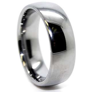 Classic 8mm Domed Unisex Tungsten Carbide Ring US Size 7.5