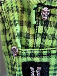 TRIPP NYC ☠ Lime Green Plaid SKINNY JEANS Pants GOTH SKULLS Zippers
