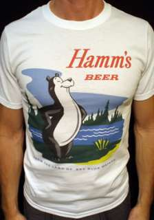 Hamms Beer t shirt vintage hamms brewery logo wht*