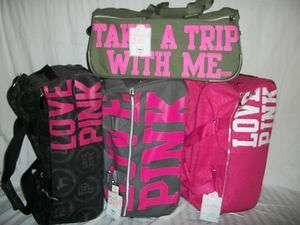 NWT Victorias Secret Pink Travel Wheelie Luggage Bags