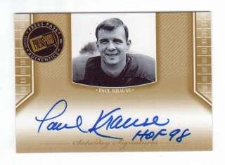 2011 Press Pass Legends PAUL KRAUSE Auto HOF 98 Card
