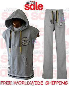 EVERLAST Mens Grey Sleeveless Hoody + Matching Pants Gym Tracksuit
