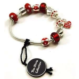 TOC BEADZ Branded MUM Red Bead Bracelet Jewelry
