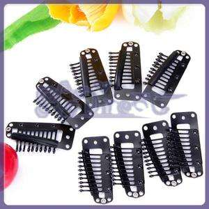20 Pcs Large 10 Teeth Toupee Snap Clips w/ Rubber Back Hair Extension