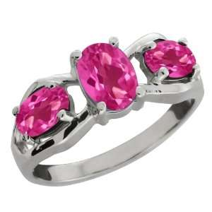 Genuine Oval Pink Mystic Topaz Gemstone Sterling Silver Ring Jewelry
