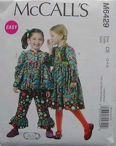 McCalls Pattern 6429 Girls DRESS TOP PANTS RUFFLES SIZES 3 5 Sewing
