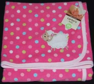 NWT Girls Carters Pink Plush Lamb Baby Blanket Dot New