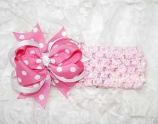 Baby Sweet Pink White Polka Dots Hair Bow Headband HD4