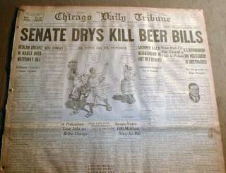 1926 Chicago newspaper w Large PROHIBITION HEADLINE Repeal of BEER BAN