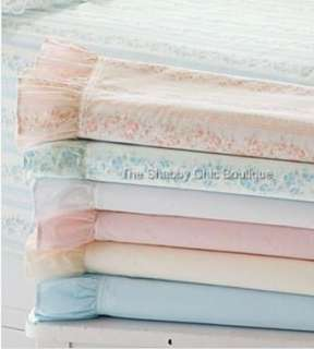 Shabby Romance Vintage Blue Twin Sheet Set Cottage Ruffle Chic New 15