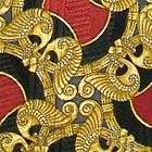 TOM JAMES ORNATE ART NOUVEAU EGYPTIAN PAISLEY RED BROWN SILK NECK TIE