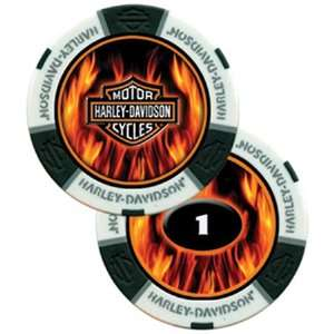 Harley Davidson Flame Poker Chip White   Sleeve of 25