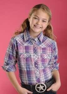 NEW Panhandle Slim Girls Pink/Blue Plaid Shirt C6S6416