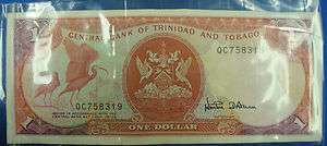One (1) Trinidad and Tobago Dollar Bill Paper Money Good Condition