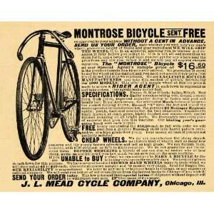 1900 Ad Montrose Bicycle Bikes Cycle Rider Mead Riding