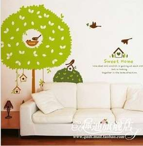 DIY Sweet Home big tree and birds Decorative Wall Paper Art Sticker
