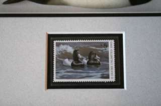 DUCKS UNLIMITED 2003 Duck Stamp & Carved Black Duck