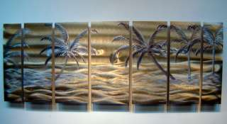 Abstract Metal Wall Art Office Decor Sculpture Golden Beach