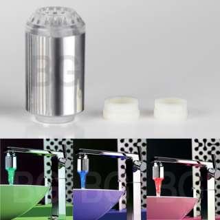 No Battery Water Faucet Glow LED Light Temperature Sensor
