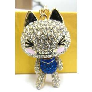 Purse Charm Big Head Kitty Cat with Moveable Legs and Arms Crystal Key