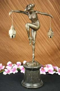 Harlequin Art Deco Bronze/signed Sculpture Figurine Statue Marble 20