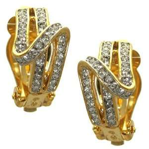 Billi Jo Gold Plated Crystal Clip On Earrings Jewelry