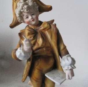 Continental Bisque Porcelain Figurine Statue Boy Artist c.1900
