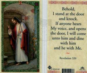 Behold I Stand at the Door and Knock Holy Card HC14 Pray Catholic