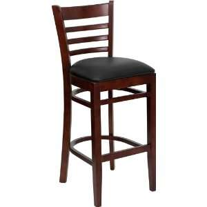 Finished Ladder Back Wooden Restaurant Bar Stool with Black Vinyl Seat
