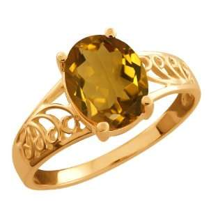 1.60 Ct Oval Champagne Quartz Gold Plated Sterling Silver