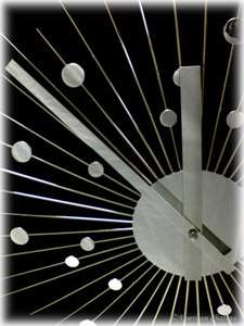 Silver Mirror Retro Sunburst 60s Starburst Wall Clock