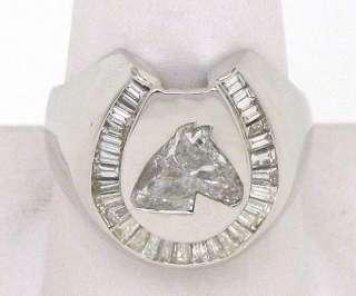 UNIQUE 18K CUSTOM HORSE HEAD CUT 2 CARAT DIAMOND RING