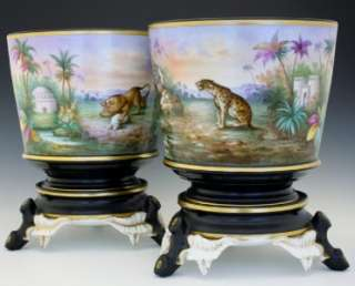 PAIR LARGE C1850 ENGLISH PORCELAIN CACHE POTS MADE FOR INDIAN MARKET